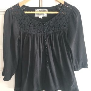 Anthropologie Black Top with embroidery